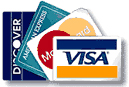 Master Card, Visa, American Express and Discover Card are gladly accepted.